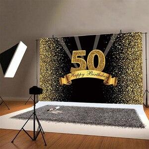 Image 2 - 50th Ảnh Lưng Nữ Nam Bữa Tiệc Sinh Nhật Vui Vẻ Tùy Chỉnh Hoa Vàng Champagne Trang Trí Chụp Ảnh Nền Biểu Ngữ
