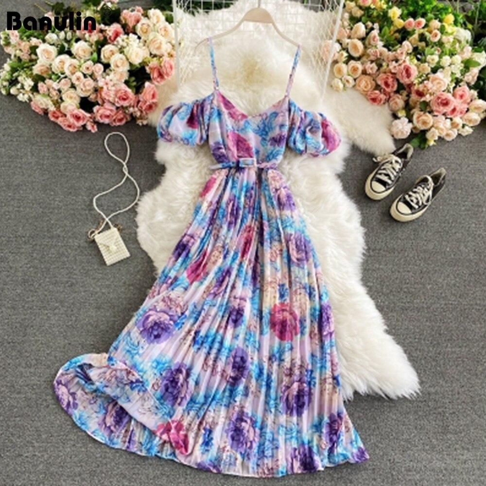 Banulin 2021 Summer Runway Floral Print Spaghetti Strap Dress Sexy Cool Off Shoulder Flower Overall Women Beach Boho Long Dress