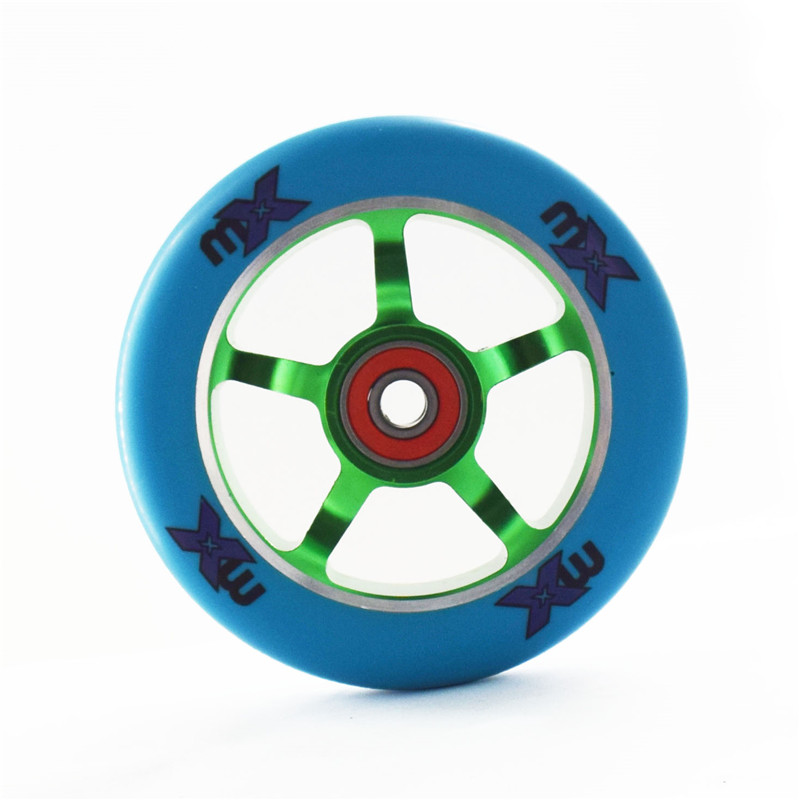 Scooter Wheels with Iron Hub, Stable and Precise design, 110mm 100mm handcart tyre Aluminium Alloy CNC 88A PU