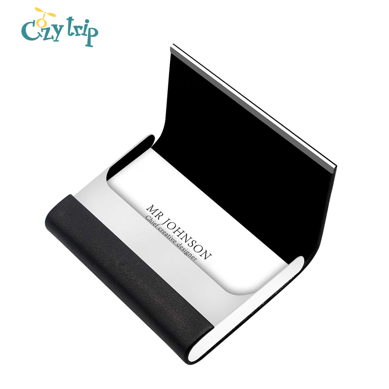 Luxury PU Leather Business Card Holder With Magnetic Buckle Slim Pocket Name Card Holder Stainless Steel Credit Card ID Case