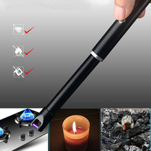 360 Rotation Usb charging lighter Long Lighter Windproof Electronic Cigarette Lighters Plasma Pulsed Arc BBQ Flameless Lighter цены