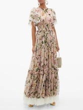 Chic womens lace patchwork maxi dress 2019 summer runways ruffles Fashion party A688