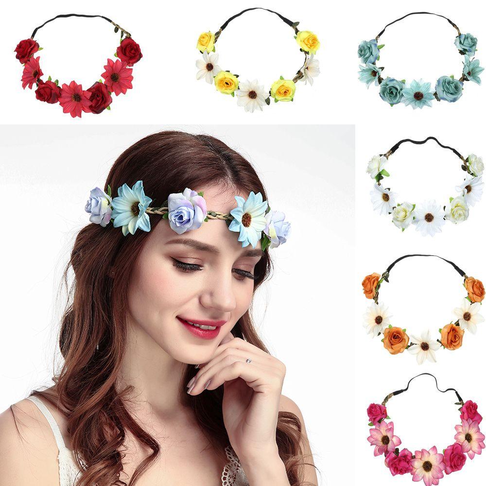 Fashion Women Flower Hair Bands Garlands Sunflower Rose Flower Elastic Headband Holiday Wedding Beach Hair Accessories