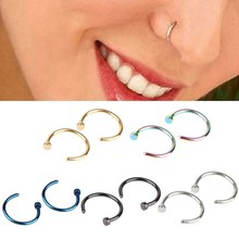 Body Jewelry 10 Piece Fake Nose Ring Goth Punk Lip Ear Nose Clip On Fake Septum Piercing Nose Ring Hoop Lip Hoop Rings Earrings(China)