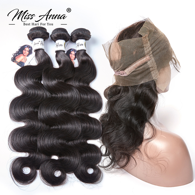 [MissAnna] OneCut P Brazilian Body Wave Hair Weave 3 Bundles With 360 Lace Frontal Remy Human Hair Bundles With Lace Frontal