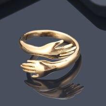 Модное креативное простое милое Открытое кольцо для двух рук