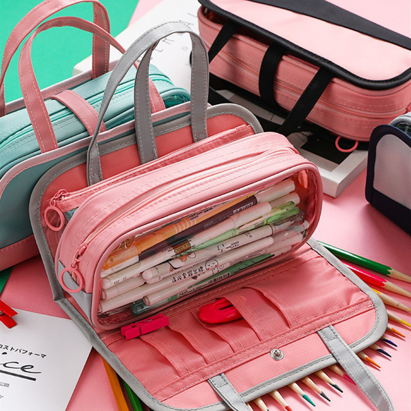 INS HOT Multifunctional Pencil Bag Waterproof Oxford Detachable Pen Bag For School Pencil Case Cosmetic Case Etui Wash Bag