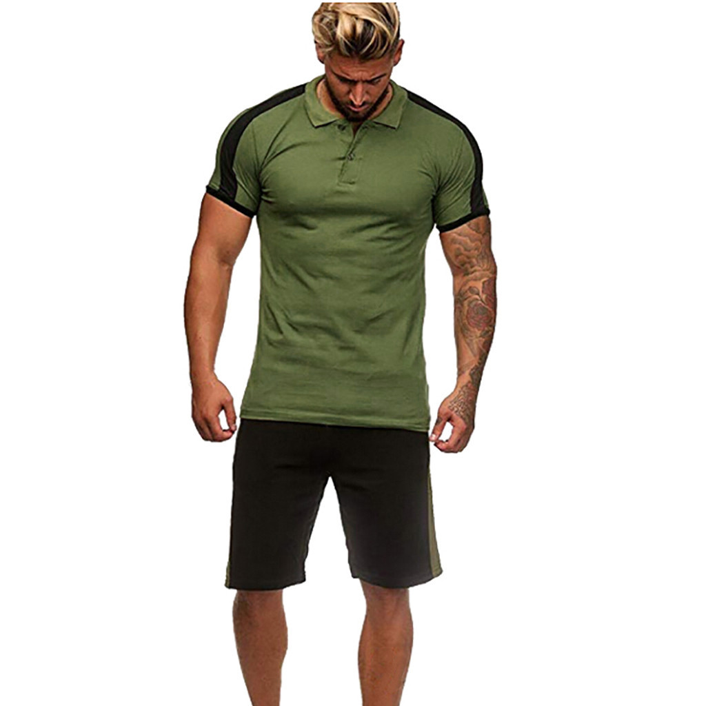 Mens Set Summer Leisure Stripe Color Collision Short Sleeve Shorts Sports Thin Sets Male Casual T Shirt 1.17