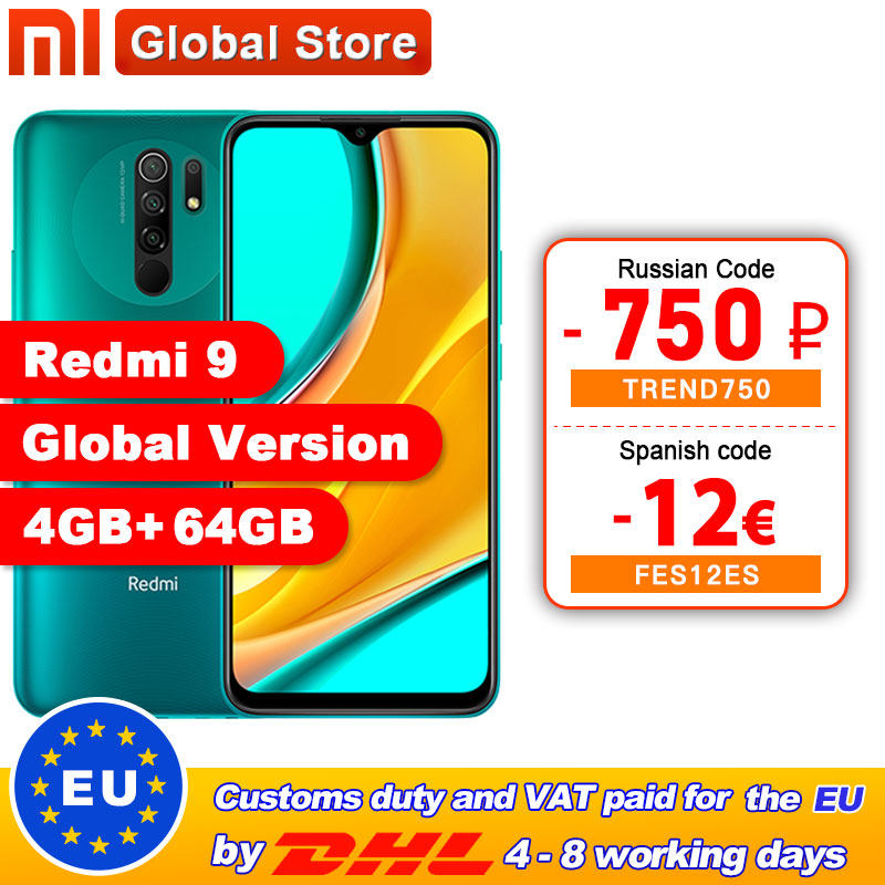 In stock Global Version Redmi 9 4GB 64GB Smartphone Octa-core Media Tek Helio G80 13 MP Rear camera 5020 mAh Redmi9 Type-c 6.53