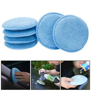 Image 5 - 24 adet 5 inç araba ağda sünger mavi yuvarlak aplikatör kolay temizlik deri lehçe Pad köpük mikrofiber evrensel yıkanabilir yeniden kullanılabilir