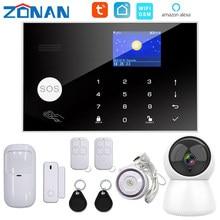 Zonan Tuya Wifi Sicherheit Alarm System App Control Mit IP Kamera Auto Zifferblatt Motion Detektor Wireless Home Intelligente Gsm Alarm kit