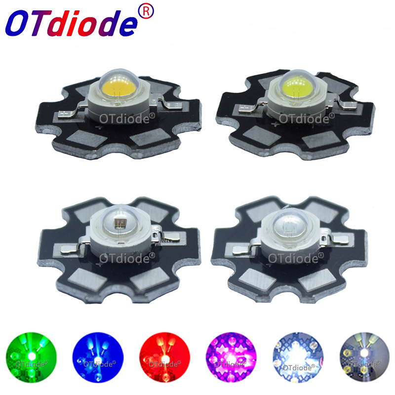 10 pièces 1W 3W haute puissance LED spectre complet blanc chaud blanc vert bleu rouge profond 660nm bleu Royal IR UV avec 20mm noir étoile PCB