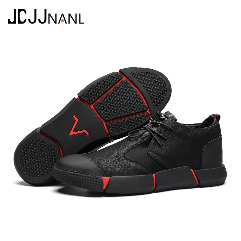 Buy JCJJNANL Brand High quality all Black Men's leather casual shoes Fashion Breathable Sneakers fashion flats zapatos de hombre
