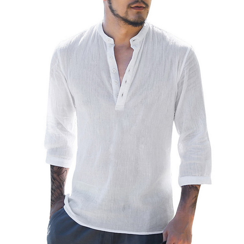 2019 Summer Mens Shirts Linen Shirt White Casual Three-Quarter Sleeve V Neck Hawaiian Shirt Beach Breathable Shirts