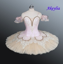 Beige Fairy Classical Ballet Tutu Girls Platter Tutus Pink Professional Adult Performance Pancake Costume