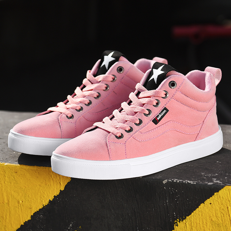 2019 New Winter High Top Women's Casual Shoes Keep Warm Short Plush Solid Flats Flock Sneakers Women Vulcanized Shoes Size 35-41