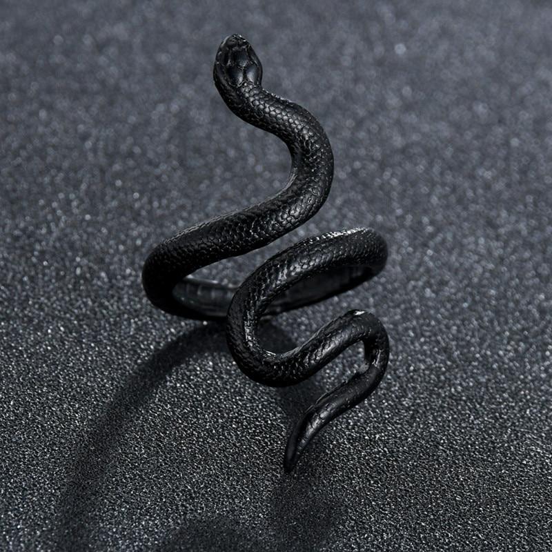 Кольца для Для мужчин Для женщин Для мужчин, ботинки для панков и готов, Золотое кольцо змея увеличенные черные висящие серьги покрытием Гот...