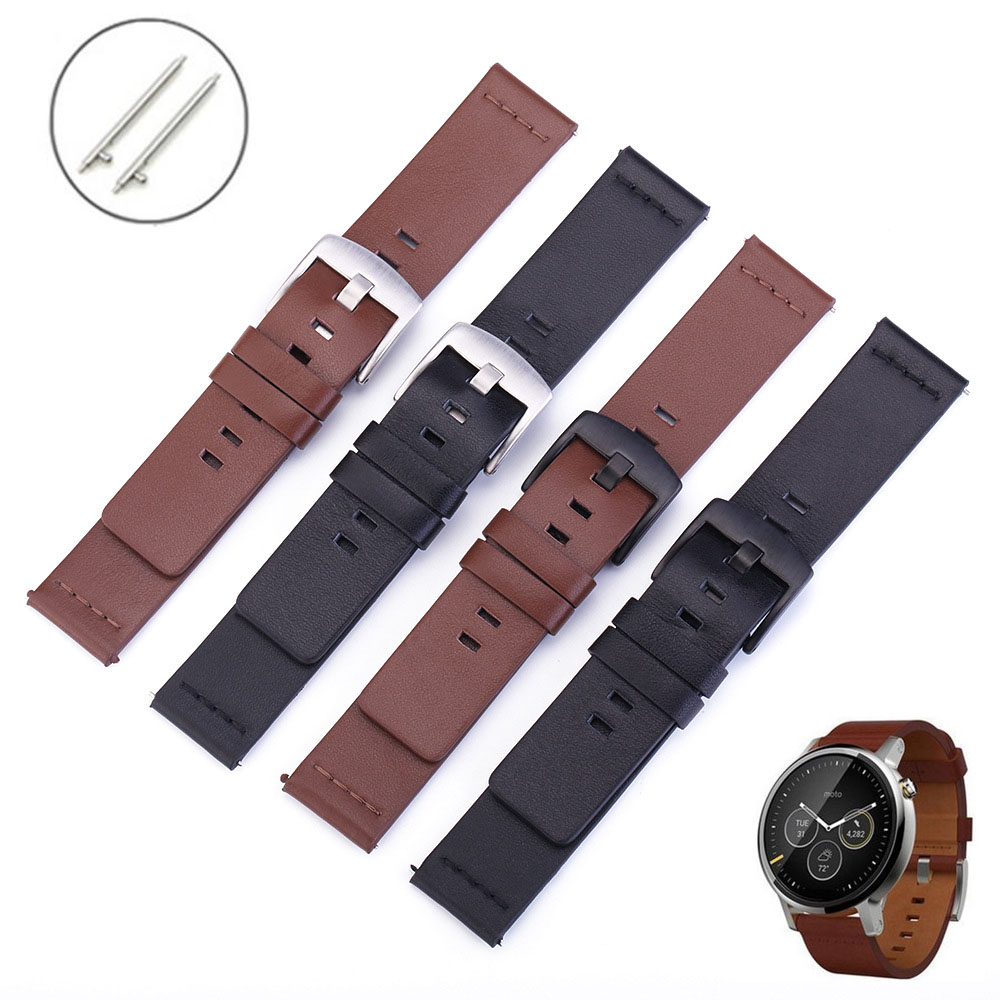 18mm 20mm 22mm 24mm Genuine Leather Watch <font><b>Band</b></font> For <font><b>Moto</b></font> <font><b>360</b></font> 2nd Watch Strap For Samsung Galaxy Watch 46mm 42mm Gear S3 S2 <font><b>Band</b></font> image