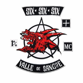 SIX SIX SIX VALLE OE SANGRE Biker Rider Biker Rider Patch BACKING Embroidered biker Patches Badge image