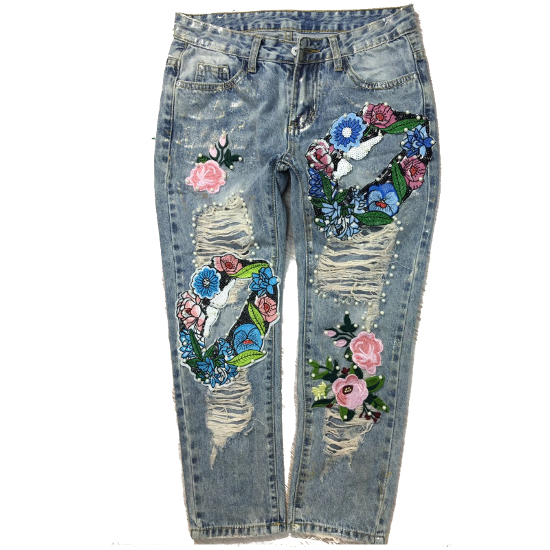 Eight Minutes Jeans Bronzing Flowers Colorful Patchwork Distressed Ripped Jeans For Women Skinny Pearl Jeans Push Up Denim Pants