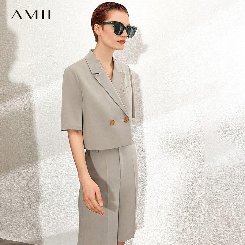 AMII Minimalism Spring Summer Solid Jacket Causal Lapel Loose Suit Coat High Waist Loose Short Pants 12070229