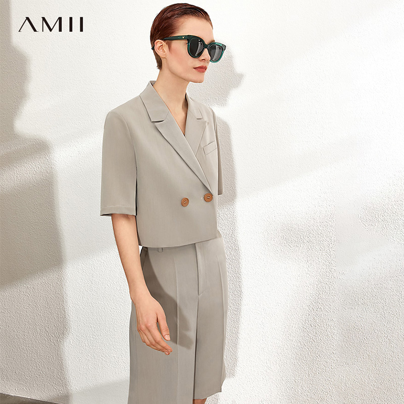 AMII Minimalism Spring Summer Solid Suit Set Causal Lapel Loose Suit Coat High Waist Loose Short Suit Pants 12070229