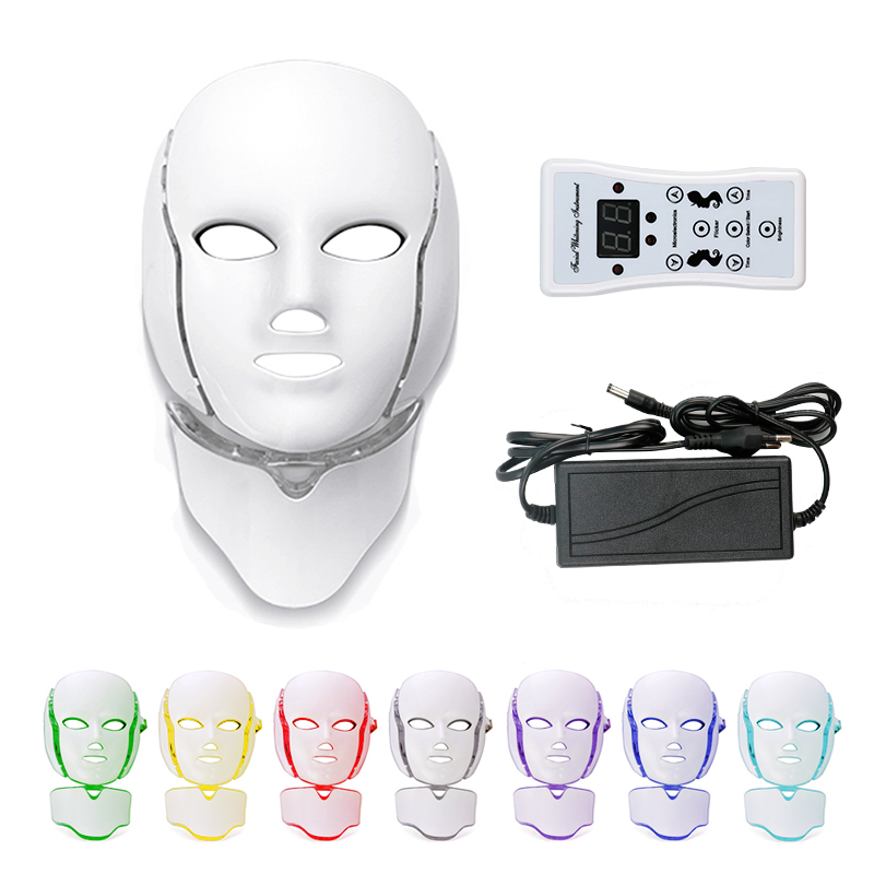 Beauty Photon LED Facial Mask Therapy 7 Colors Led Skin Rejuvenation Anti Wrinkle Acne Mask Face Neck Beauty Spa