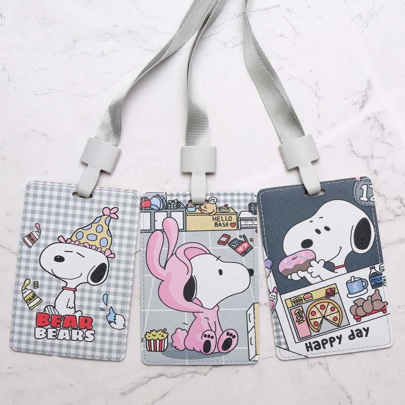 Lovely White Dog PU Name Credit Card Holders Women Men Bank Card Bag Neck Strap Bus ID Holders Identity Badge With Lanyard