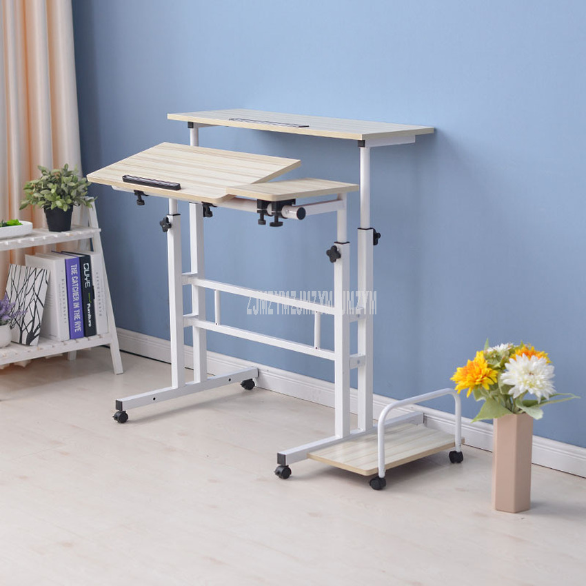 Modern Sit/Stand Computer Desk With Keyboard Tray Height Adjustable Simple Standing Laptop Desk Notebook/Monitor Holder Stand