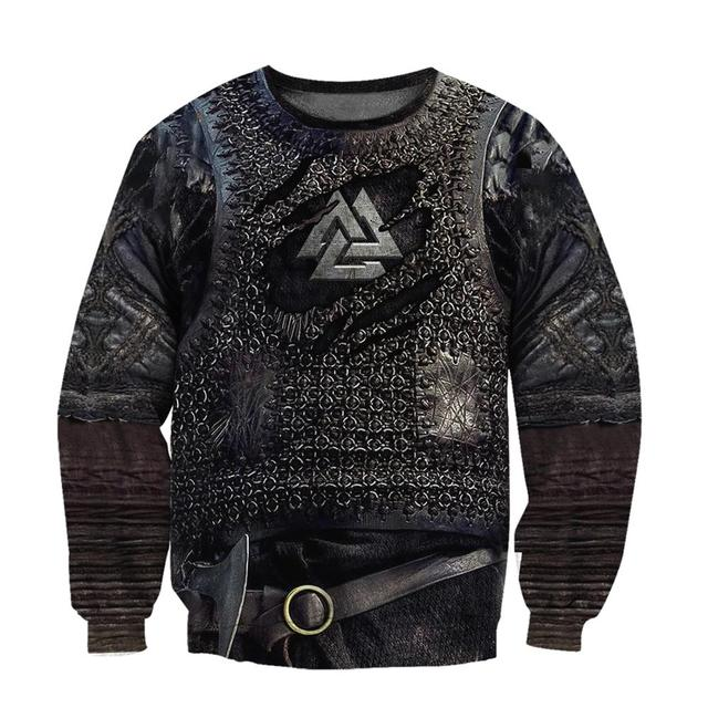 Viking Armor Tattoo 3D Printed Hoodies Harajuku Fashion Sweatshirt Cosplay costume Unisex Casual jacket Zip Hoodie WJ003 2