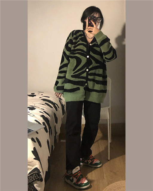Spring Autumn Sweaters for Women Korean Lazy Girl Retro Christmas Dark Green Trendy Zebra Print Sweater Jacket Knitted Cardigans 4
