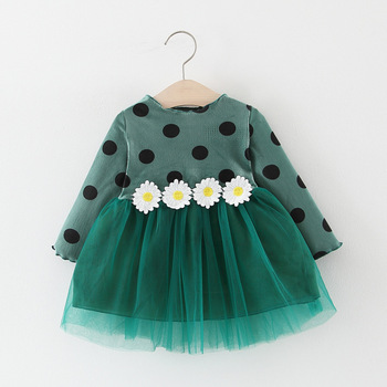 Girl's Polka Dot Dress with Daisy Appliques 2