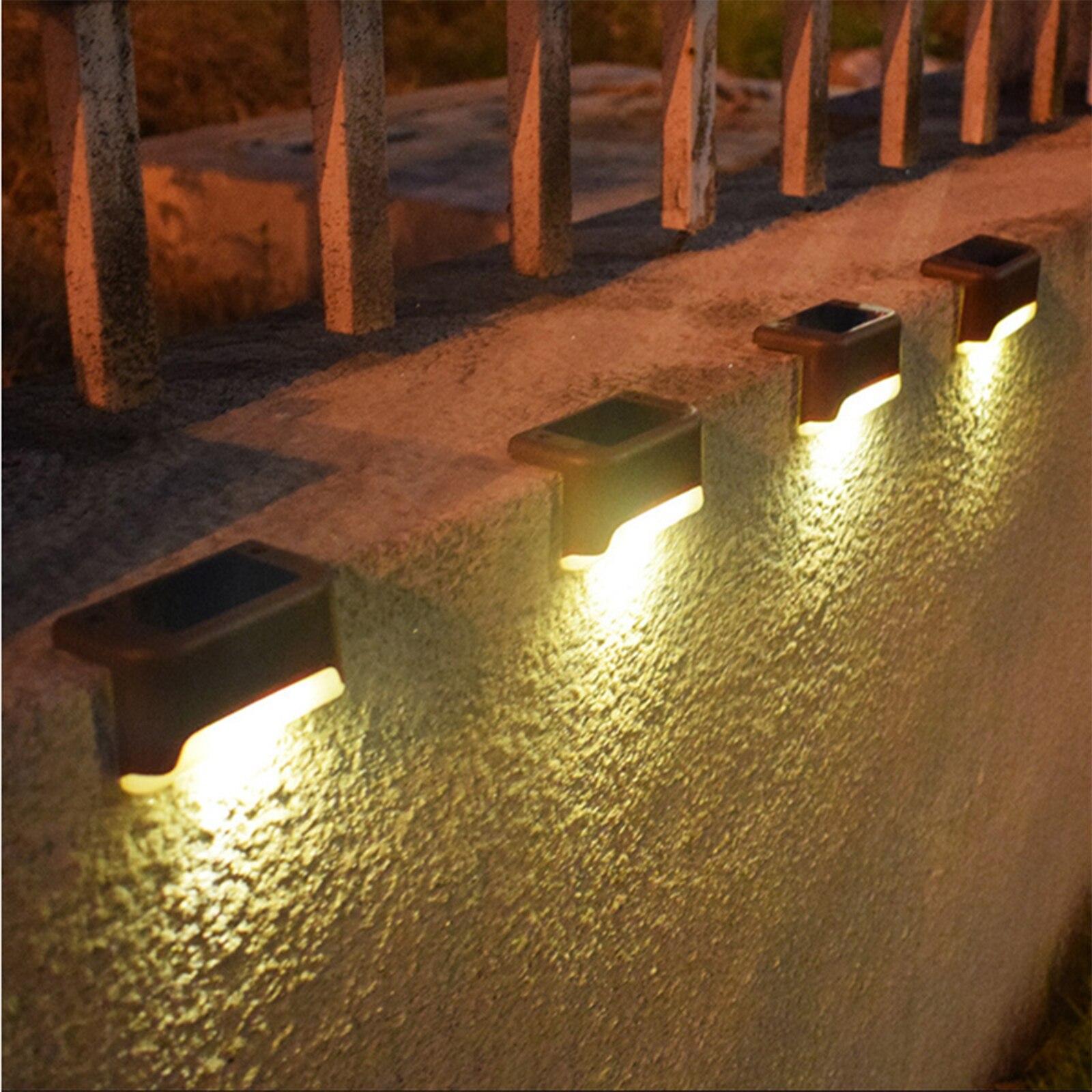 luzes solares da escada lampada cerca luzes da lampada cerca led ao ar livre 4 pcs