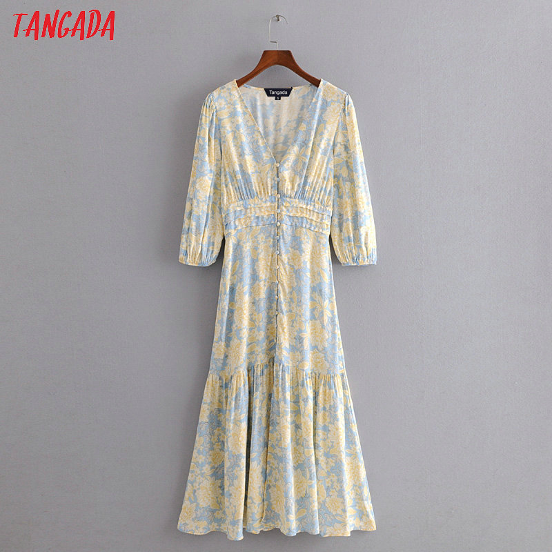 Tangada Fashion Women Yellow Floral Midi Dress Short Sleeve Buttons Ladies Elegant V Neck Vintage Dress 3H394
