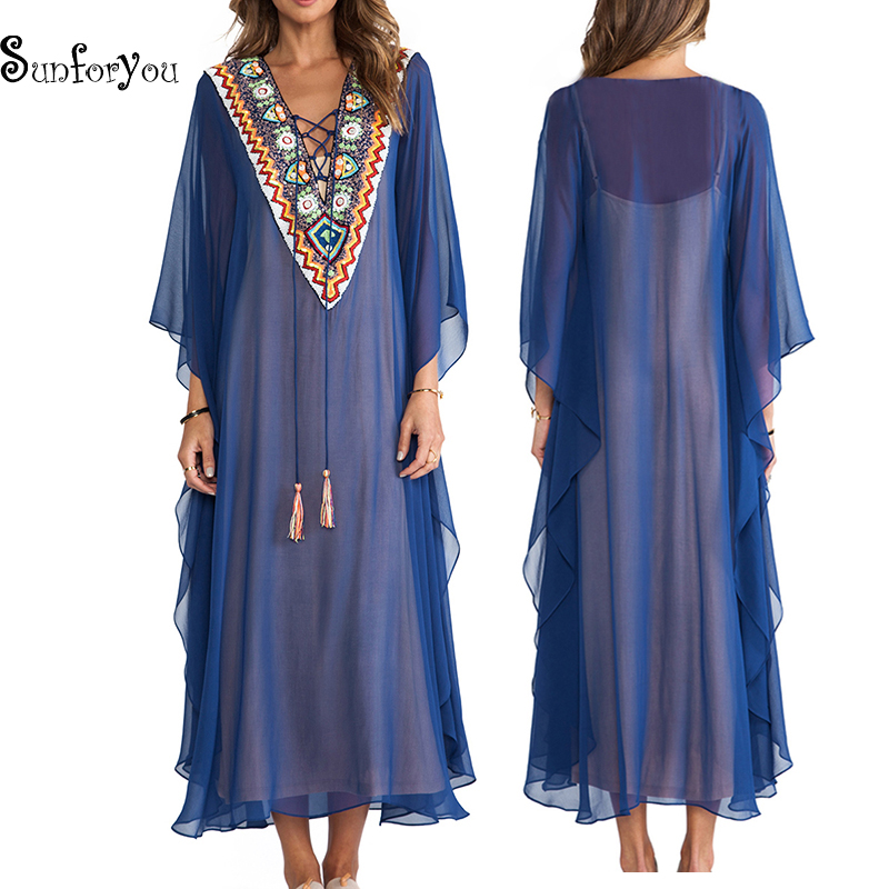 Plus Size Chiffon Beach Cover Up Summer Dress Embroidery Robe Plage 2020 Swim Suit Cover Up Beachwear Vestido Playa Pareo Beach