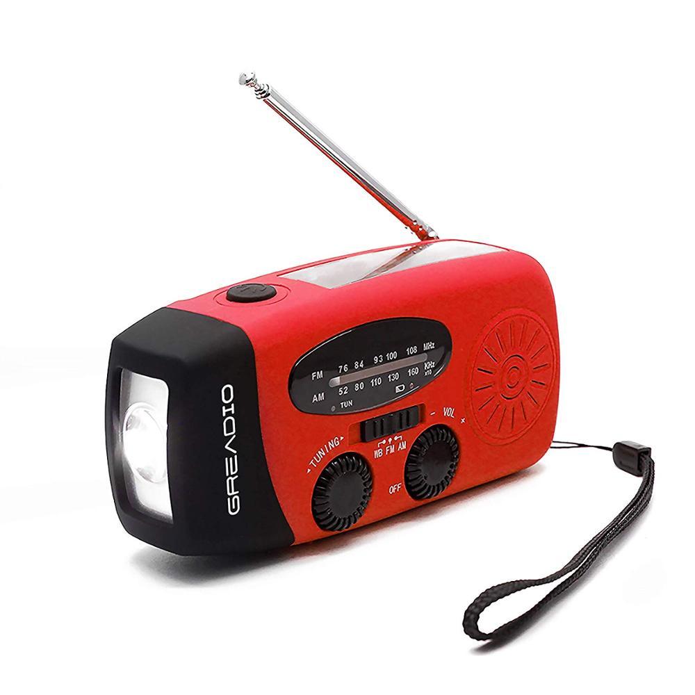Protable mão rádio manivela solar dínamo alimentado am/fm/noaa tempo rádio uso de emergência led lanterna e banco de potência