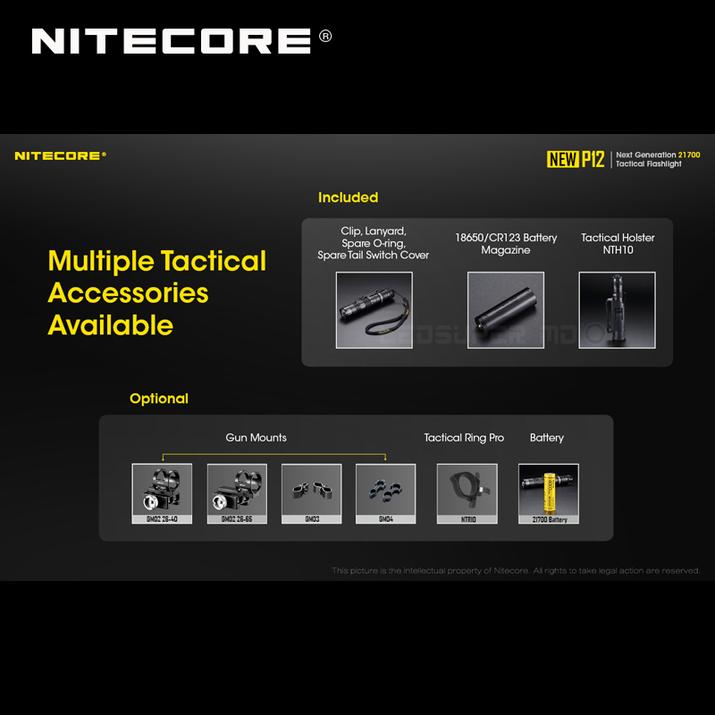 1200 Lumens Nitecore NEW P12 Next Generation 21700 Tactical Flashlight with NTH10 Holster - 5