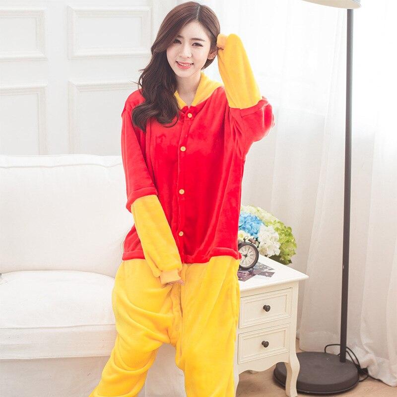 Kigurumi Winnie Bear Onesies Pajamas Sets Animal Costume Pyjamas Unisex Cartoon Cosplay Character Pijamas Sleepwear