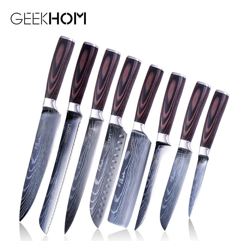Японский нож для кухни из высокоуглеродистой нержавеющей стали, ножи для шеф повара, дамасский лазерный узор, 8 дюймов, кухонный нож для овощей Кухонные ножи    АлиЭкспресс