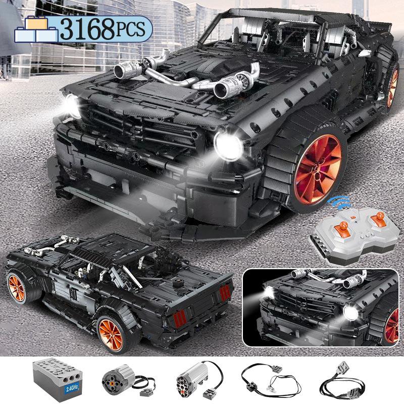 3168 pces moc rc/não-rc ford mustang hoonicorn rtr v2 bloco de construção para a técnica carro de corrida da cidade tijolos led brinquedos para crianças