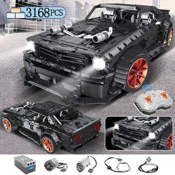 3168 stücke MOC RC Ford Mustang Hoonicorn RTR V2 Modell Baustein Für Legoing Technik Racing Stadt Auto Led Ziegel spielzeug für Kinder