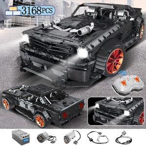 3168pcs MOC RC /non-RC Ford Mustang Hoonicorn RTR V2 Building Block For Technic Racing City Car Led Bricks Toys for Children(China)