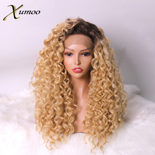 Xumoo Kinky Curly Synthetic Lace Front Wig Heat Resistant Ombre Honey Blonde Wigs Cosplay Party Daily Wigs For Black Women