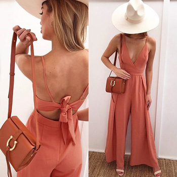 Summer Jumpsuits HOT Women Summer Sexy Sleeveless Deep V-Neck Backless Lace Up Jumpsuit Solid High Waist Loose Jumpsuits цена 2017
