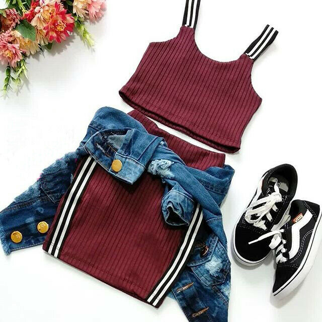 1-6Y Summer Infant Kids Girls Clothes Sets Fashion Striped Sleeveless Vest Tops Mini Skirts 2pcs Outfits