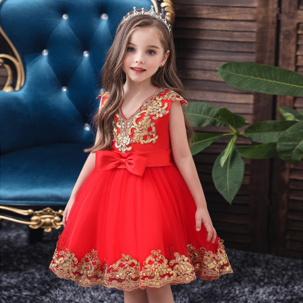 0-11Y Kids Elegant Pearl Cake Princess Dress Girls Dresses For Wedding Evening Party Embroidery Flower Girl Dress Girl Clothes
