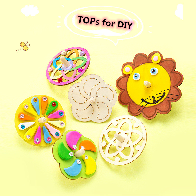 8 Pcs/Lot Kids DIY Painting Wooden SpinningTop Toys Creative Graffiti Handmade Painted Gyroscope Craft Toys  Material Bags