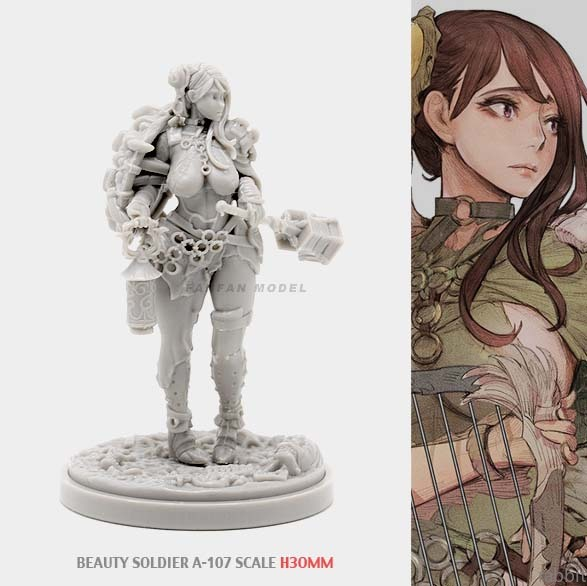 30MM KD Resin Kits BEAUTY SOLDIER Goddess Series Self-assembled A-107