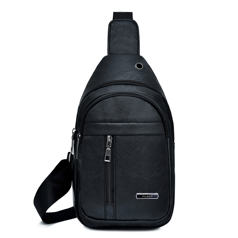 2019 Korean-style Men Chest Pack Pu Soft Leather Shoulder Bag New Style Shoulder Bag Fashion Fashion Casual Sports Backpack