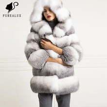 цена на 2019 New Arrival Real Fox Fur Coat Autumn Winter Fur Jackets Warm Fur Coats For Women Natural Hooded Fashion Outerwears Clothing